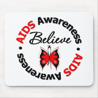 AIDS Believe Scripted Butterfly Mouse Mat