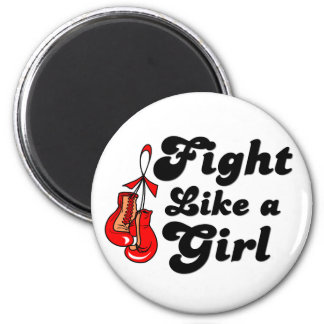 AIDS Fight Like A Girl Motto Refrigerator Magnet