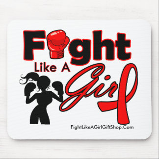 AIDS Fight Like A Girl Silhouette Mouse Pad