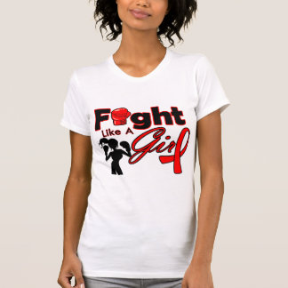 AIDS Fight Like A Girl Silhouette Tees