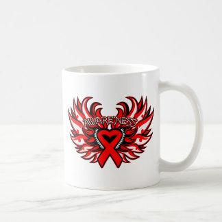AIDS HIV Awareness Heart Wings.png Basic White Mug