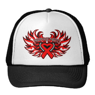 AIDS HIV Awareness Heart Wings.png Hats