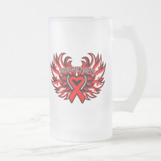 AIDS HIV Awareness Heart Wings.png Frosted Glass Mug