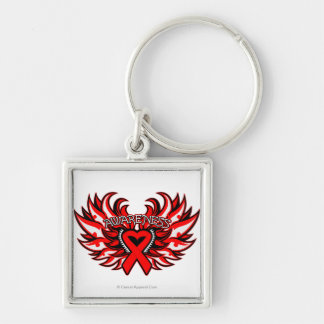 AIDS HIV Awareness Heart Wings.png Silver-Colored Square Key Ring