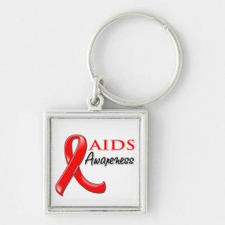 AIDS HIV Awareness Ribbon Silver-Colored Square Key Ring