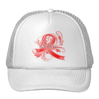 AIDS HIV Believe Flourish Ribbon Mesh Hats