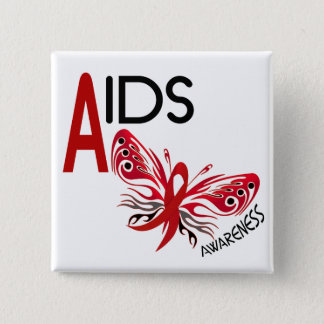 AIDS / HIV Butterfly 3 Awareness 15 Cm Square Badge