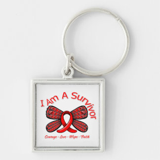AIDS HIV Butterfly I Am A Survivor Silver-Colored Square Key Ring