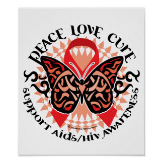 AIDS/HIV Butterfly Tribal 2 Poster