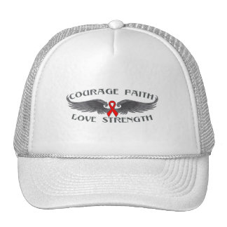 AIDS HIV Courage Faith Wings Mesh Hats