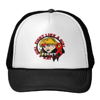 AIDS HIV Fight Like A Girl Attitude Hats