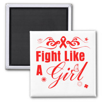 AIDS HIV Fight Like A Girl Ornate Magnets