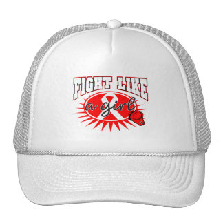 AIDS HIV Fight Like A Girl Sporty Callout Mesh Hat