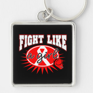 AIDS HIV Fight Like A Girl Sporty Callout Key Chains