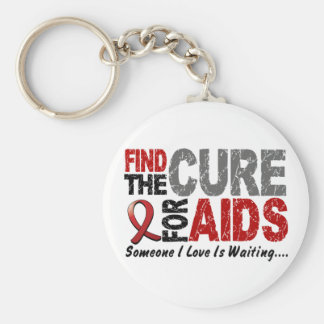 AIDS / HIV Find The Cure 1 Basic Round Button Key Ring