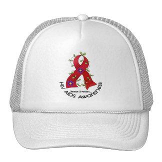 AIDS HIV Flower Ribbon 1 Trucker Hat