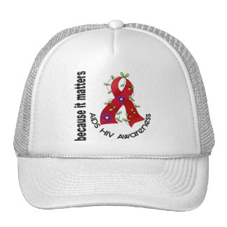 AIDS HIV Flower Ribbon 3 Trucker Hat