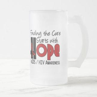 AIDS HIV HOPE 4 FROSTED GLASS MUG