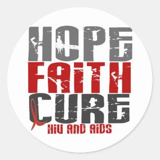 AIDS / HIV HOPE FAITH CURE CLASSIC ROUND STICKER