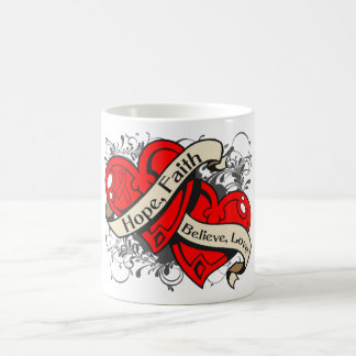 AIDS HIV Hope Faith Dual Hearts Basic White Mug