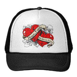 AIDS HIV Hope Faith Dual Hearts Trucker Hat