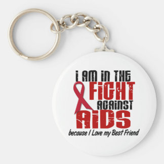 AIDS HIV In The Fight 1 Best Friend Basic Round Button Key Ring