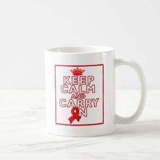 AIDS HIV Keep Calm and Carry ON Basic White Mug