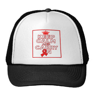 AIDS HIV Keep Calm and Carry ON Hats