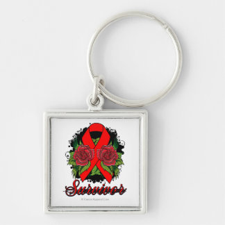 AIDS HIV Rose Grunge Tattoo Silver-Colored Square Key Ring