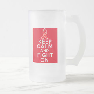 AIDS Keep Calm and Fight On Frosted Glass Mug