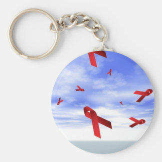 Aids Ribbons Floating in the Sky Basic Round Button Key Ring
