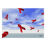 AIDS Ribbons Floating in the Sky Poster
