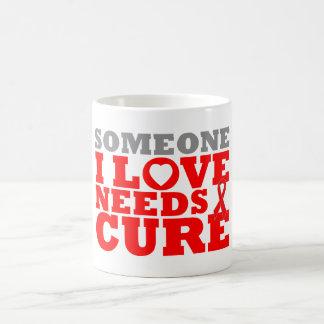 AIDS Someone I Love Needs A Cure Basic White Mug