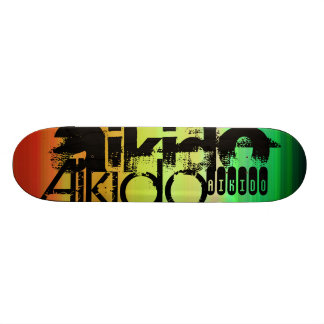 Aikido; Vibrant Green, Orange, & Yellow Skateboard