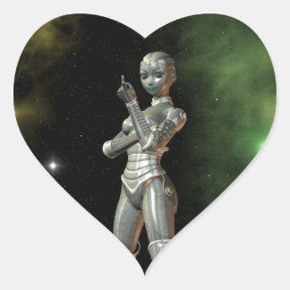 aikobot & stars heart sticker