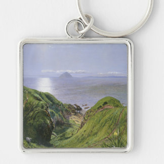Ailsa Craig and the Isle of Arran, Scotland Silver-Colored Square Key Ring