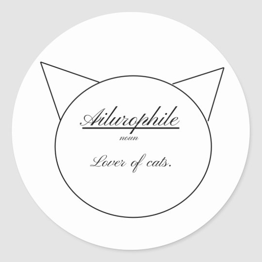 Ailurophile, simple cat shape. classic round sticker