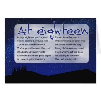 Aim for the stars 'at 18' card - with night sky