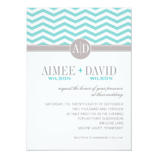 Aimee Chic Chevron Monogram | teal Wedding 14 Cm X 19 Cm Invitation Card