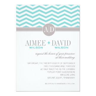 Aimee Chic Chevron Monogram   teal Wedding Card