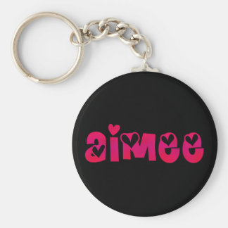 Aimee in Hearts Basic Round Button Key Ring