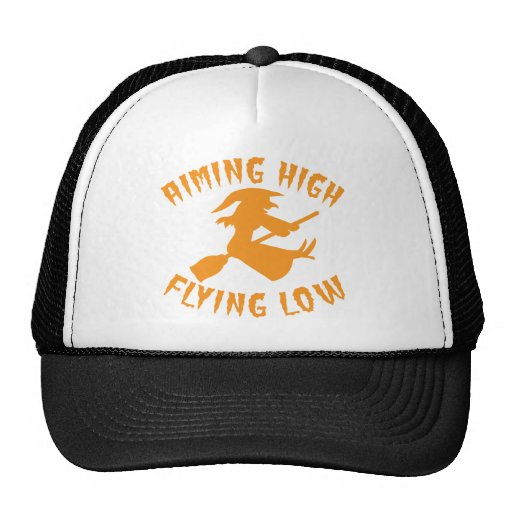 AimING High Flying low witch flying low HALLOWEEN Trucker Hat