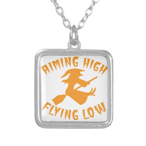 AimING High Flying low witch flying low HALLOWEEN Necklaces