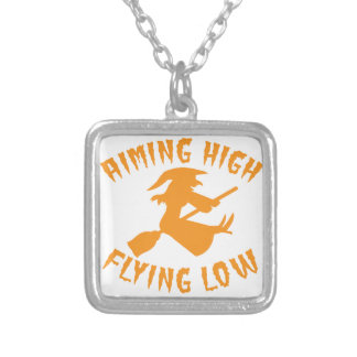 AimING High Flying low witch flying low HALLOWEEN Silver Plated Necklace