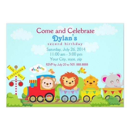 Ainmal Zoo Train Birthday Party Invitation
