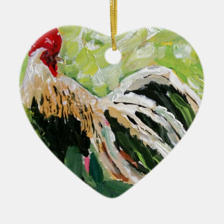 Ainsley the Rooster just for you full of color Ceramic Heart Decoration