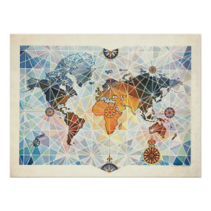 Air Afrique Map of the World Poster