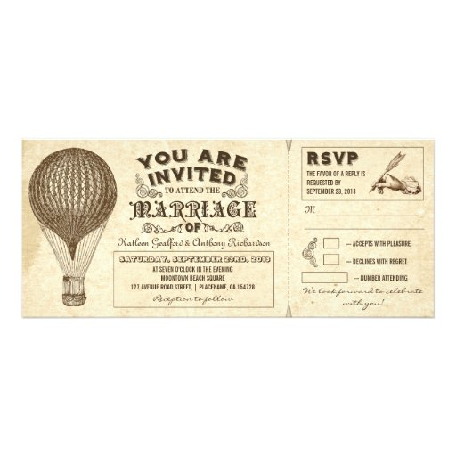air balloon vintage typography wedding invitations