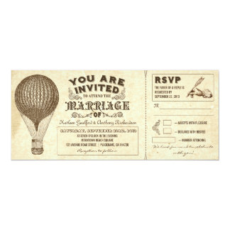 air balloon vintage typography wedding invitations