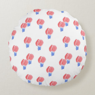 Air Balloons Brushed Polyester Round Throw Pillow
